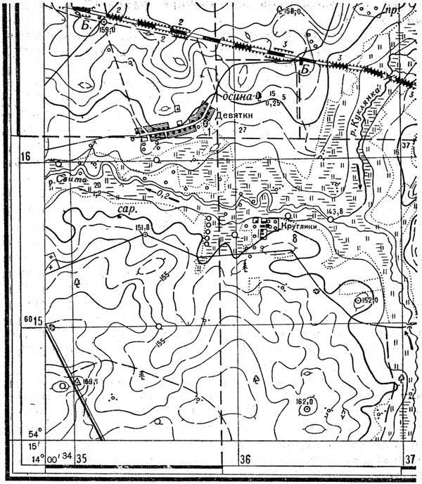 Юго-западная часть листа карты масштаба 1 : 25 000