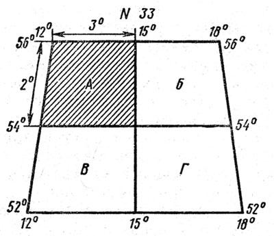 Разграфка листа карты масштаба 1 : 1 000 000 на листы карты масштаба 1 : 500 000
