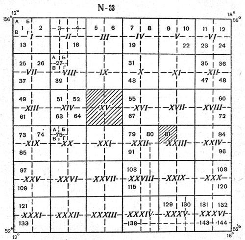 Разграфка листа карты масштаба 1 ; 1 000 000 на листы карты масштаба 1 : 100 000 и 1 : 50 000